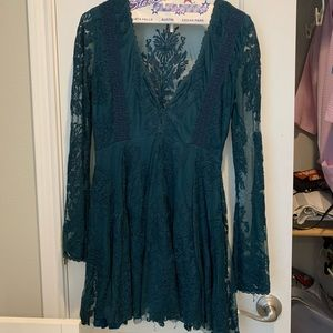 Free people bell sleeved torquoise dress